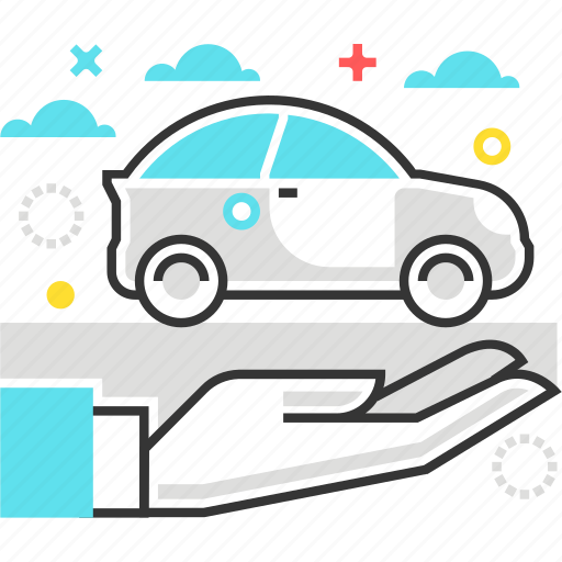 car, hand, insurance, transport, woad icon