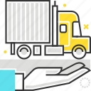 cargo, hand, insurance, protection, shipment, transport, truck icon