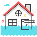 disaster, flood, hand, house, insurance, protection, water icon
