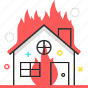 burn, disaster, fire, house, insurance, protection, station icon