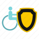 accessibility, accessible, accident, aid, armchair, assistance, wheelchair and shield icon