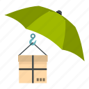 box, cardboard, care, fragile, pack, post, umbrella and box icon