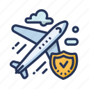plane, plane clouds, secure plane, travel icon