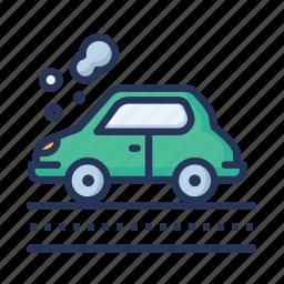 car, car pollution, fog, vehicle icon