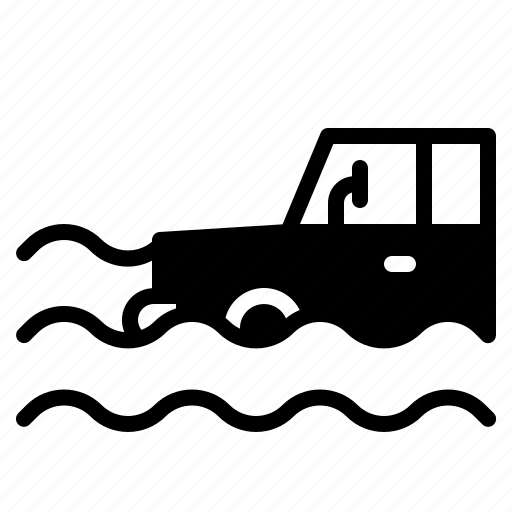 Car, damage, disaster, flood, rain, water icon - Download on Iconfinder