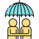 assumption, assumption reinsurance, couple, friend, friendship, reinsurance icon