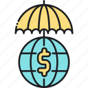 financial, financial reinsurance, global insurance, reinsurance, worldwide coverage icon