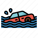 flood, coverage, car, insurance, vehicle icon