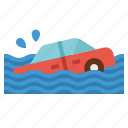 car, coverage, flood, insurance, vehicle icon
