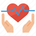 coverage, health, heart, insurance, rate icon