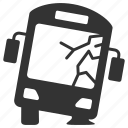 accident, bus, crash, daamage, insurance, transportation, vehicle icon