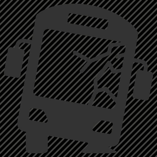 accident, bus, crash, daamage, insurance, transportation, vehicle icon