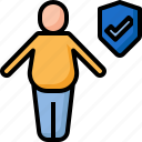 care, chubby, fat, health, insurance, life, protection icon