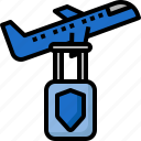 baggage, flight, insurance, luggage, plane, protection, travel icon