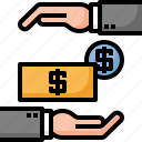 bank, coin, deposit, hand, insurance, money, note icon