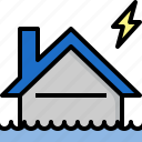 flood, home, house, insurance, protection, storm, thunder icon