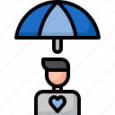 care, health, insurance, man, people, protection, umbella icon