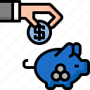 bank, finance, insurance, investment, money, piggy, protection icon