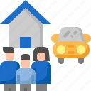 car, family, home, house, insurance, people, protection icon
