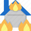 burn, burning, disaster, fire, home, house, insurance icon