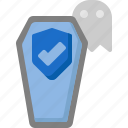 coffin, die, ghost, halloween, insurance, life, protection icon