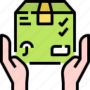 box, delivery, hand, package, security, shipping icon