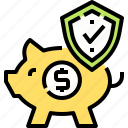 bank, insurance, piggy, saving, security icon