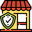 insurance, protection, security, shield, shop, store icon