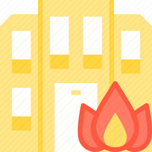 building, burning, fire, insurance, security icon