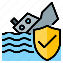 coverage, insurance, protect, protection, ship, sinking, transport icon