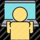 computer, laptop, program, user icon