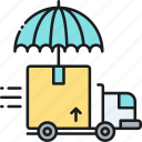 delivery insurance, insurance, logistics insurance, shipping, shipping insurance icon