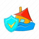 cartoon, disaster, flood, house, insurance, shield, water icon