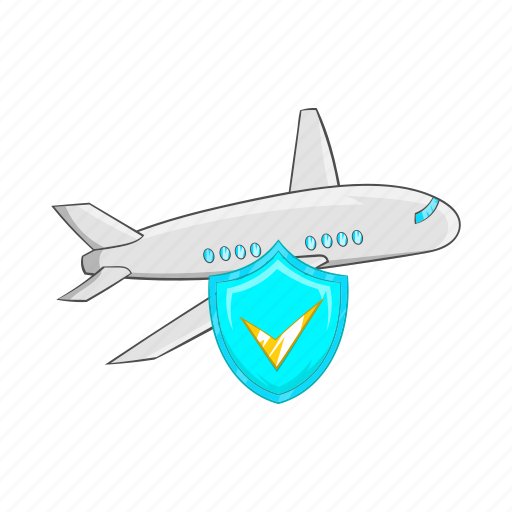 aircraft, airplane, cartoon, plane, protection, shield, travel icon