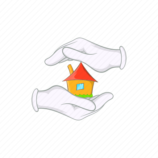 cartoon, cottage, hand, home, house, insurance, sale icon