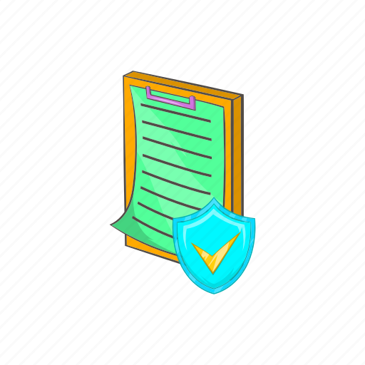 cartoon, clipboard, document, file, insurance, paper, sign icon