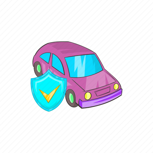 car, cartoon, insurance, protection, safety, shield, vehicle icon