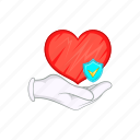 cartoon, hand, heart, heartbeat, illness, medicine, shield icon