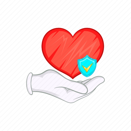 cartoon, hand, heart, heartbeat, illness, medicine, shield icon