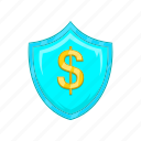 business, cartoon, dollar, finance, insurance, money, protection icon