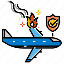 accident, air accident insurance, airplane, flight, insurance, travel icon
