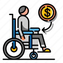 accident, compensation, disability, disabled, disablement benefit, insurance, wheelchair icon