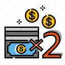 compensation, double indemnity, double-indemnity, earning, life insurance, multiple, payment icon