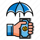 compensation, insurance, investment, loan, payment, protection, umbrella icon