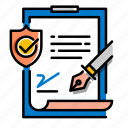application, contract, document, form, insurance, policy, proctection icon