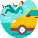 accident, car, crash, death, insurance, man, risk icon