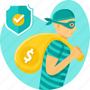 bag, crime, insurance, money, protection, safe, thief icon