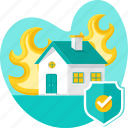fire, flame, home insurance, house, insurance, protection, real icon