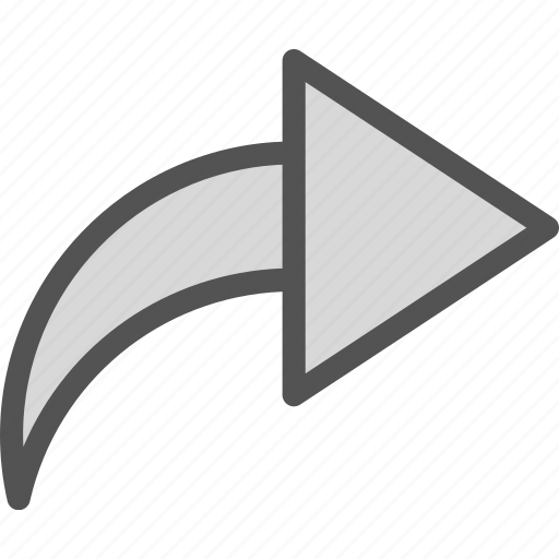 curve, forward, play, right icon