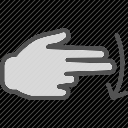 arrow, direction, finger, hand, interaction, touchsdown icon